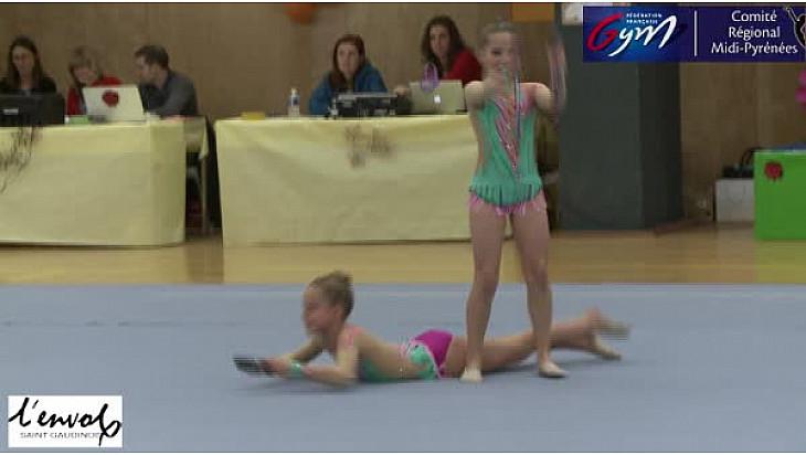 Gymnastique GR Nationale DUO 13 ans et moins: le Duo de l'Envol de Saint-Gaudens se classe Premier